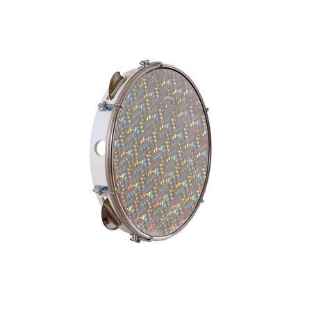 Imagem de Pandeiro -- TP308 Pele Holográfica -- BRANCO  -- Injetado 10 Polegadas -- TORELLI