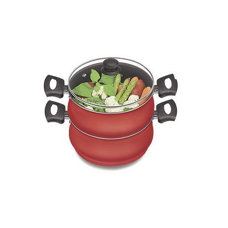 Imagem de Panela al vapore legumeira cozimento vapor caçarola vermelha