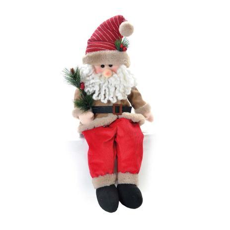Papai Noel Sentado Decoração Natal 56 Cm Vermelha - Cromus - Bonecos ... 758c30f7fc9