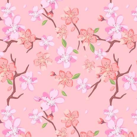 Papel Adesivo De Parede Flor De Cerejeira Fundo Rosa Rolo 300 X0