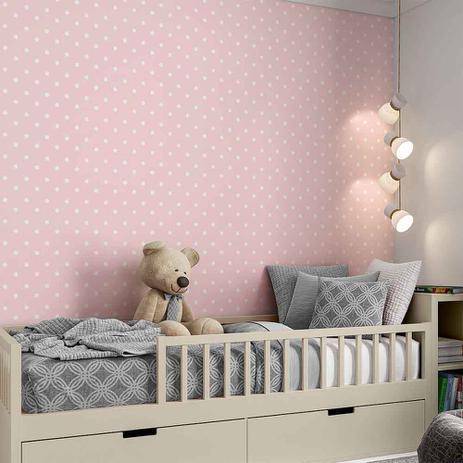 Imagem de Papel de Parede 3mx60cm Poá Infantil Bebê Menina Adesivo Autocolante Lavável Rosa - Defacile