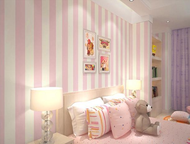 1a3378051 Papel de Parede Adesivo Listras Rosa e Branco - Arte e cores ...