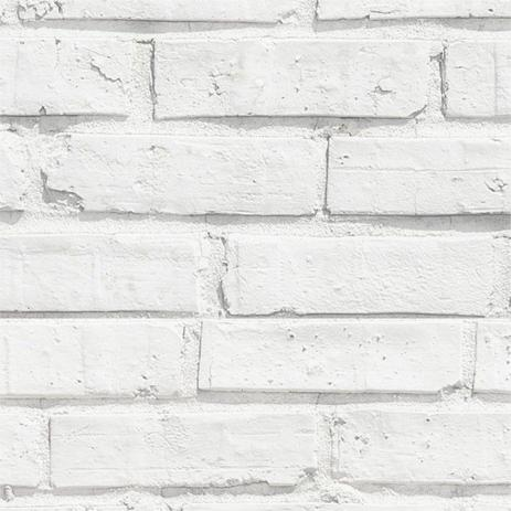 b2c7c5d4a Papel de Parede Adesivo Vinil imita Tijolo Rústico Branco - Stick ...
