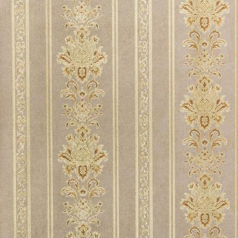 Imagem de Papel de Parede Importado Vinílico Lavável Listras Damask Marrom com Dourado