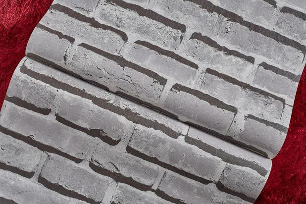 c7cfa3f2f Papel de parede importado vinílico textura tijolo 3d cinza - Marca própria