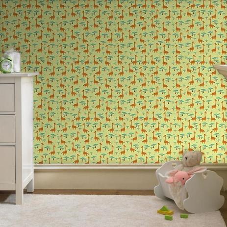 da5787f232297 Papel de Parede Infantil Girafa Safari - Casah - Adesivo e Papel de ...