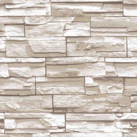 59dbba8f8 Papel de Parede Natural Pedra Estilo Finottato - Rolo de 10m Bege Branco