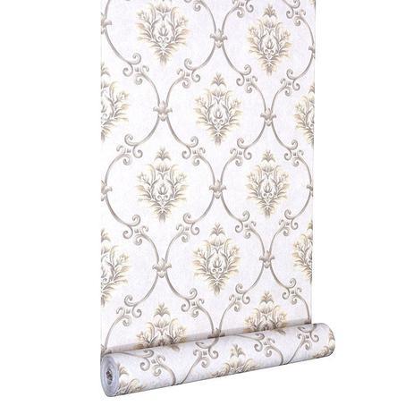 Imagem de Papel de parede vinílico importado textura estilo arabesco - bege claro  areia  marrom dourado