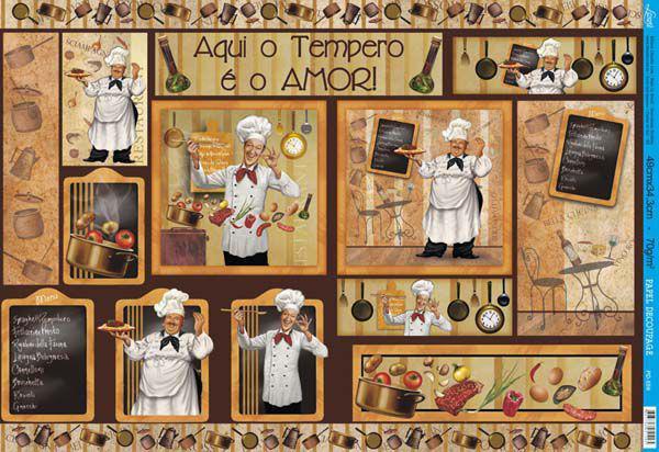 Papel decoupage grande chef cozinha pd 559 litoarte - Papel decoupage infantil ...