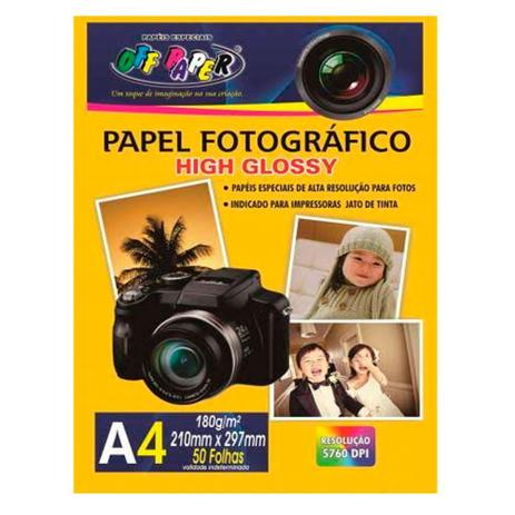 Imagem de Papel Fotográfico High Glossy A4 180G 50fls Off Paper
