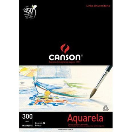 Imagem de Papel Para Aquarela Canson Mix Media A4 300g/m² 12 folhas