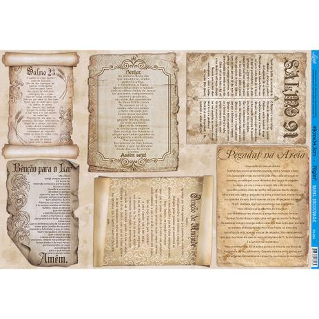 Imagem de Papel para Decoupage Litoarte 49 x 34,3 cm - Modelo PD-858 Pergaminhos - Orações e Salmos