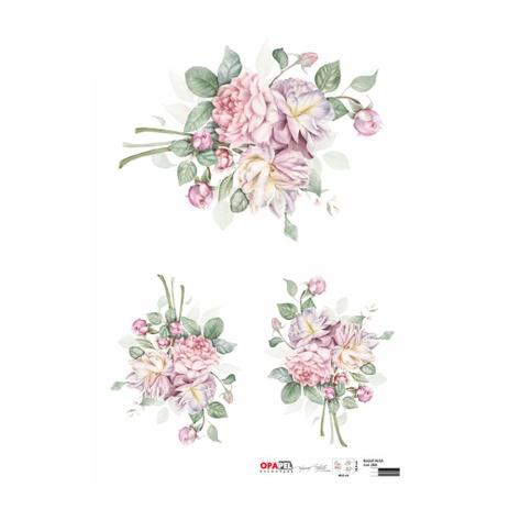 Imagem de Papel para Decoupage Opapel 30 x 45 cm  2808  Buquê Rosa