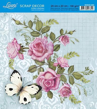 Imagem de Papel Scrap Decor Folha Simples 20x20 Rosas e Borboleta SDSXX-023 - Litoarte