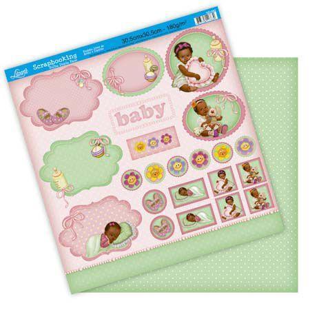 Imagem de Papel Scrapbook Litoarte 30,5x30,5 SD-082 Baby Menina Rosa e Verde