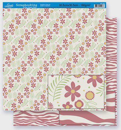 Imagem de Papel Scrapbook Litoarte 30,5x30,5 SD-272 Flores e Ramos Rosa