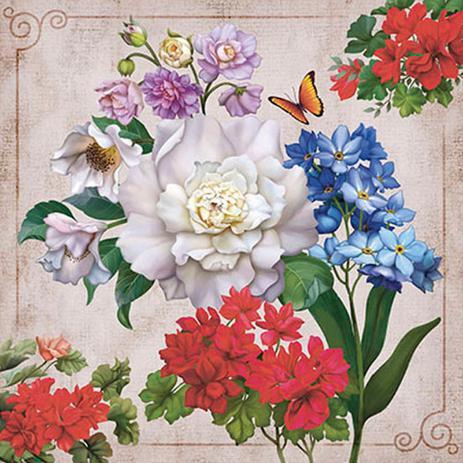 Imagem de Papel Transfer 30x30 Flores e Borboleta PT30-007 - Litoarte