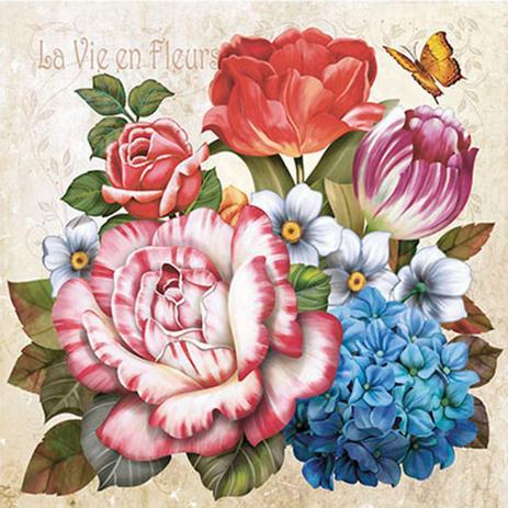 Imagem de Papel Transfer 30x30 Flores e Borboleta PT30-009 - Litoarte