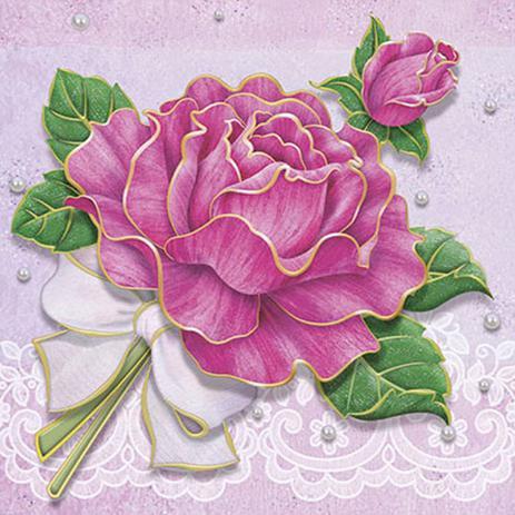Imagem de Papel Transfer 30x30 Rosa com Laço PT30-001 - Litoarte