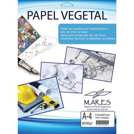 Imagem de Papel Vegetal A4 90/95g. 210x297mm Mares Cx.c/100