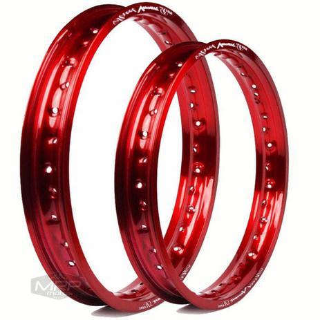 Imagem de Par Aros Alumínio Vermelho Viper Street Dianteiro Traseiro Bros 125 150 160 Xre 190 Xtz Crosser 150