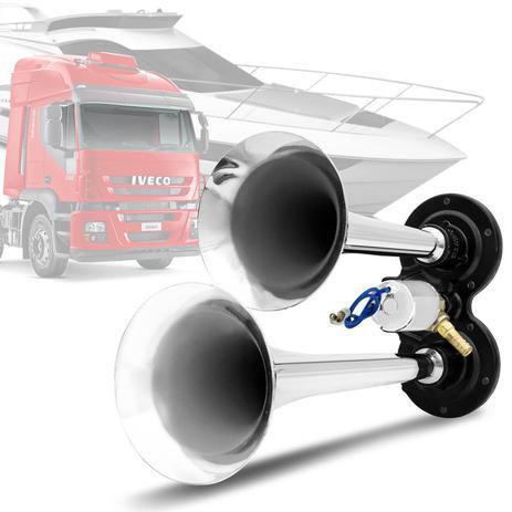 Imagem de Par Buzina Eletropneumática Ar 2 Cornetas Universal 24V Cromada P/ Caminhões Lanchas Original Vetor