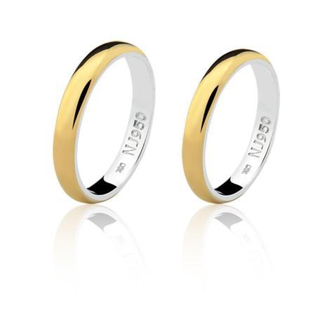 ea032c7f9 Par de Aliança Casamento/Noivado Mista Ouro 18k/750 e Prata - Natália jóias