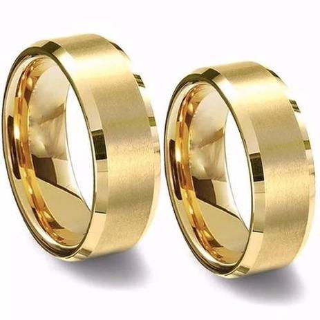 5d0a82ceaa0 Par De Aliança Chanfrada De Tungstênio 8mm Folheada A Ouro - Margo bonita