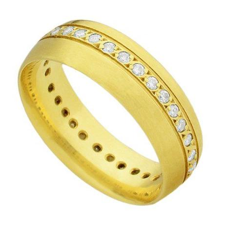 Par de Aliança de Casamento em Ouro 18k Acetinada com e sem Diamantes  ea2f60 - Joiasgold 9a3829d608