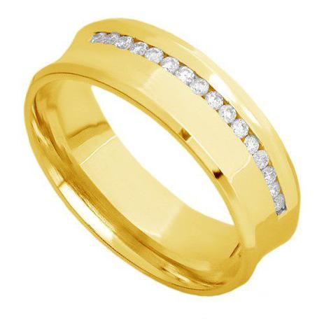 Par de Alianças de Casamento Ouro 18K Côncavas Lisa e com Diamantes eac60a  - Joiasgold 8f2b031f03