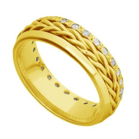 1dcfe50237f Par de Alianças de Casamento Ouro 18K Trançada com e sem Diamantes -  Joiasgold