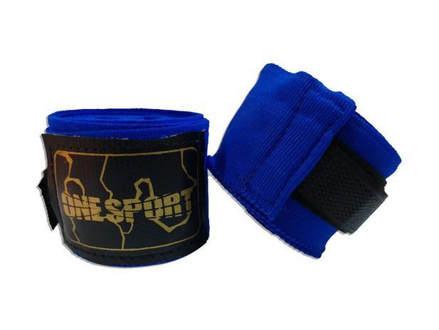 Imagem de Par De Bandagem Atadura Elástica 3 Metros Muay Thai Boxe - Azul - One Sport