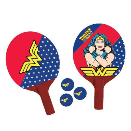 Par De Raquetes Ping Pong Mulher Maravilha + 3 Bolas Tenis De Mesa - Bel  sports 2fdb69b056971