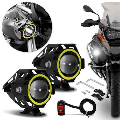 Imagem de Par Farol de Milha LED Moto Universal Angel Eyes U7 6000K 20W Luz Branca Farol Alto Baixo Neblina