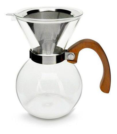 Imagem de Passador de cafe vidro alca madeira mimo vd20031