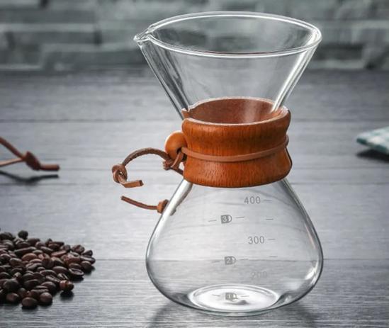 Imagem de Passador De Café Vidro E Coador Inox 350ml Alça Madeira