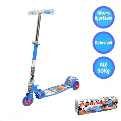Imagem de Patinete Dobrável 03 Rodas Radical Até 50kg Top Azul Dm Toys