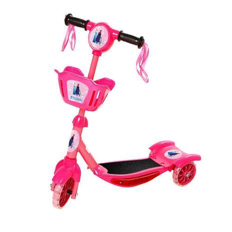 Imagem de Patinete Frozen Para Crianças Scooter 3 Rodas Brinquedo Infantil De Led E Som Menina Rosa Modelo Com Cestinha Art Brink