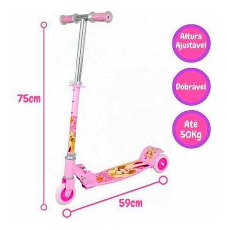 Imagem de Patinete New Top Radical 3 Rodas Infantil 50kg Ajustavel DMR4879RS Rosa