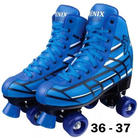 Imagem de Patins 4 Rodas Clássico Azul Menino 36 ao 37 Roller Skate