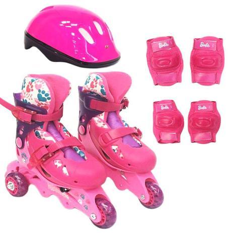 35e9e99e7ec Patins Ajustáveis com Kit de Segurança - 3 Rodas - Tamanho 29 a 32 - Barbie  - Rosa - Fun