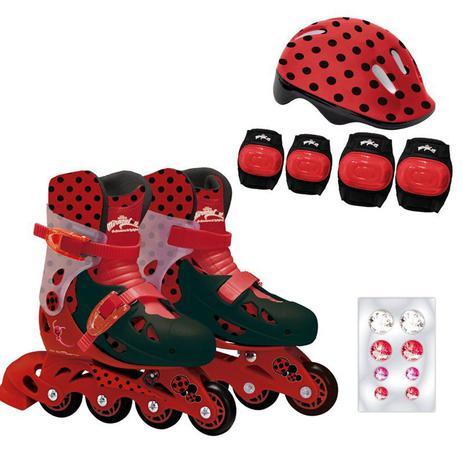 Imagem de Patins Ajustáveis com Kit de Segurança 4 Rodas Tamanho 33 ao 36 Miraculous Ladybug Fun Divirta-se