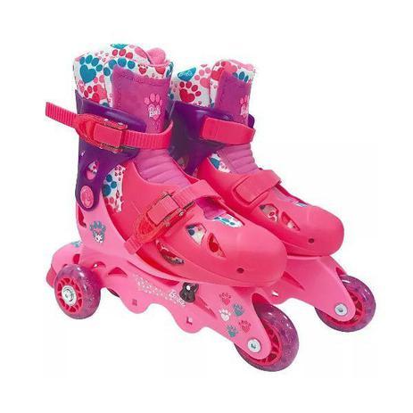 Imagem de Patins Barbie 3 Rodas com Acessorios Segurança FUN 7785-5