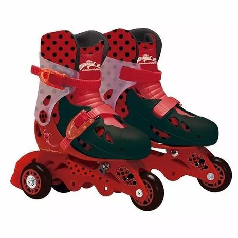 5acf75d67 Patins Infantil Ladybug 3 Rodas Com Kit De Segurança 29 A 32 - Fun ...