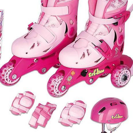 e5e289e7d30 Patins Infantil Tri-line Ajustável 30 33 C  Kit Proteção Rosa - Fenix
