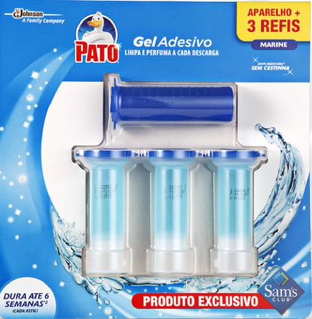 Imagem de Pato Gel Adesivo Limpa Perfuma Marine - 1 Aparelho + 3 Refis