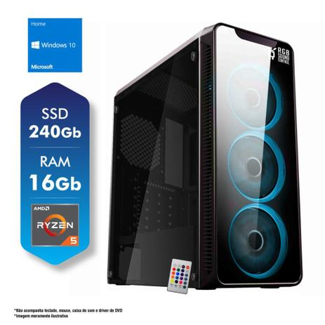 Imagem de PC Gamer AMD Ryzen 5 3400G 16GB SSD 240GB Fonte 500W Windows 10 CertoX Stream 7108