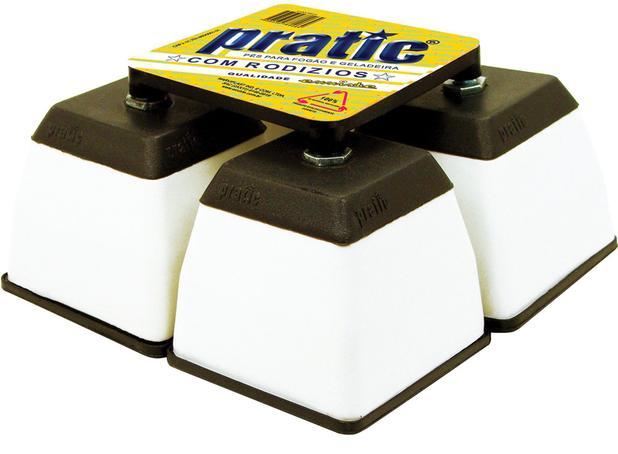 Imagem de Pe para geladeira e fogao de plástico quadrado branco - Pratic