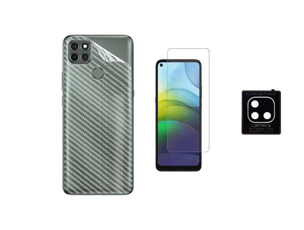 Imagem de Película Verso Fibra Carbono + P. Câmera Lente + P. Nano Gel Para Motorola Moto G9 Power