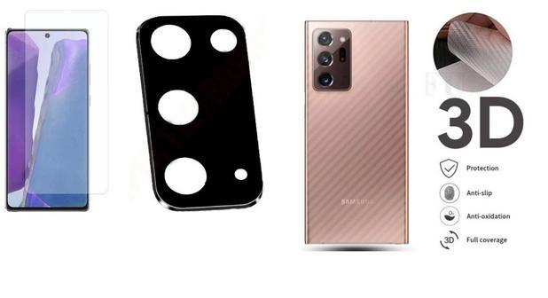 Imagem de Película Verso Fibra Carbono + P. Câmera Lente + P. Nano Gel Para Samsung Galaxy Note 20 6.7